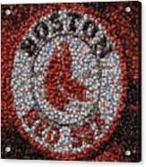 Boston Red Sox Bottle Cap Mosaic Acrylic Print by Paul Van Scott