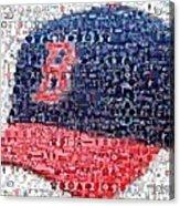 Boston Red Sox Cap Mosaic Acrylic Print by Paul Van Scott