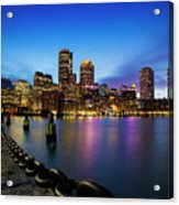 Boston Skyline At Dusk Acrylic Print