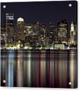 Boston Skyline At Night Acrylic Print