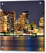 Boston Skyline At Night Panorama Acrylic Print