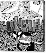 Boston Skyline Black And White Acrylic Print