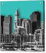 Boston Skyline - Graphic Art - Cyan Acrylic Print