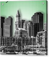 Boston Skyline - Graphic Art - Green Acrylic Print