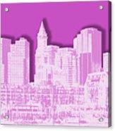 Boston Skyline - Graphic Art - Pink Acrylic Print