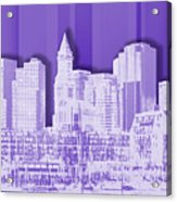 Boston Skyline - Graphic Art - Purple Acrylic Print