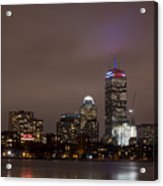 Boston Skyline In Red, White And Blue Boston Massachusetts Acrylic Print