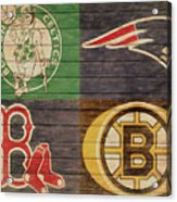 Boston Sports Teams Barn Door Acrylic Print