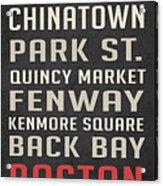 Boston Subway Stops Poster Acrylic Print