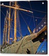 Boston Tall Ship Flags Boston Ma Sailors Blue Sky Acrylic Print