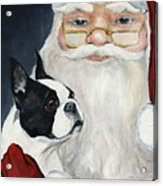 Boston Terrier With Santa Acrylic Print