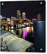 Boston Waterfront Skyline View Boston Ma Acrylic Print