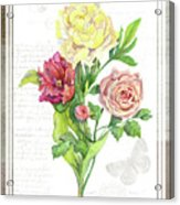 Botanical Vintage Style Watercolor Floral 3 - Peony Tulip And Rose With Butterfly Acrylic Print
