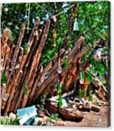 Bottle Fence In Golden New Mexico Acrylic Print