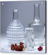Bottles And Red Flowers  Acrylic Print