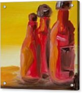Bottles Of Hot Sauce Acrylic Print by Steve Jorde
