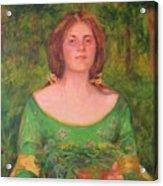 Bouguereau Girl In The Cross Timbers Of Oklahoma Acrylic Print
