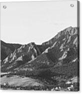Boulder Colorado Flatirons And Cu Campus Panorama Bw Acrylic Print