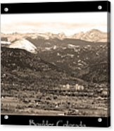 Boulder Colorado Sepia Panorama Poster Print Acrylic Print