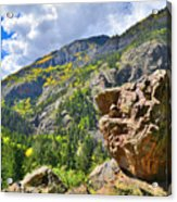 Boulder In Ouray Canyon Acrylic Print