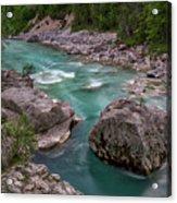 Boulder In The River - Slovenia Acrylic Print