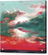 Bound Of Glory 2 - Square Sunset Painting Acrylic Print by Gina De Gorna