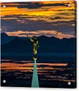 Bountiful Sunset - Moroni Statue - Utah Acrylic Print