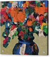 Bouquet-a-day #8 Original Mixed Media Painting On Canvas 70.00 Incl Shipping By Elaine Elliott Acrylic Print