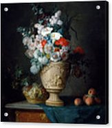 Bouquet Of Flowers In A Terracotta Vase With Peaches And Grapes Acrylic Print