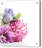 Bouquet Of Fresh Flowers Isolated On White Acrylic Print