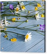 Bouquet Of Wild Flowers On A Wooden Acrylic Print