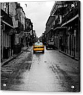 Bourbon Street Taxi French Quarter New Orleans Color Splash Black And White Watercolor Digital Art Acrylic Print