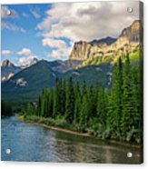 Bow River And Three Sisters Canmore Acrylic Print