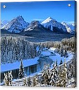 Bow River Parkway Blue Skies Acrylic Print