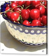 Bowl Of Cherries With Shadow Acrylic Print