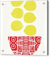 Bowl Of Lemons- Art By Linda Woods Acrylic Print