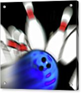 Bowling Sign 2 - Strike  Acrylic Print by Steve Ohlsen