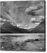 Bowman Lake Black And White Panoramic Acrylic Print