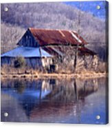 Boxely Barn Reflection Acrylic Print