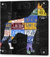 Boxer Dog Pet Owner Love Vintage Recycled License Plate Artwork Acrylic Print
