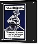 Boxer Joe Lewis As Army Private Poster 1942 Color And Frame Added 2016 Acrylic Print