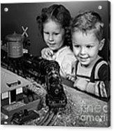 Boy And Girl With Train Set, C.1950s Acrylic Print
