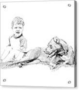 Boy And His Dog Acrylic Print