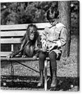 Boy And Orangutan Acrylic Print