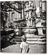 Boy At Statue In Sicily Acrylic Print