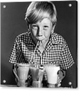 Boy Drinking Three Shakes At Once Acrylic Print
