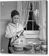 Boy Drying Dishes, C.1950s Acrylic Print