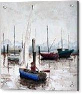 Boy In Blue Sailboat Acrylic Print