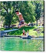 Boy Jumping Off The Board Into Dierkes Lake In Snake River Near Twin Falls-idaho   Acrylic Print