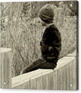 Boy On Fence - Sepia Acrylic Print